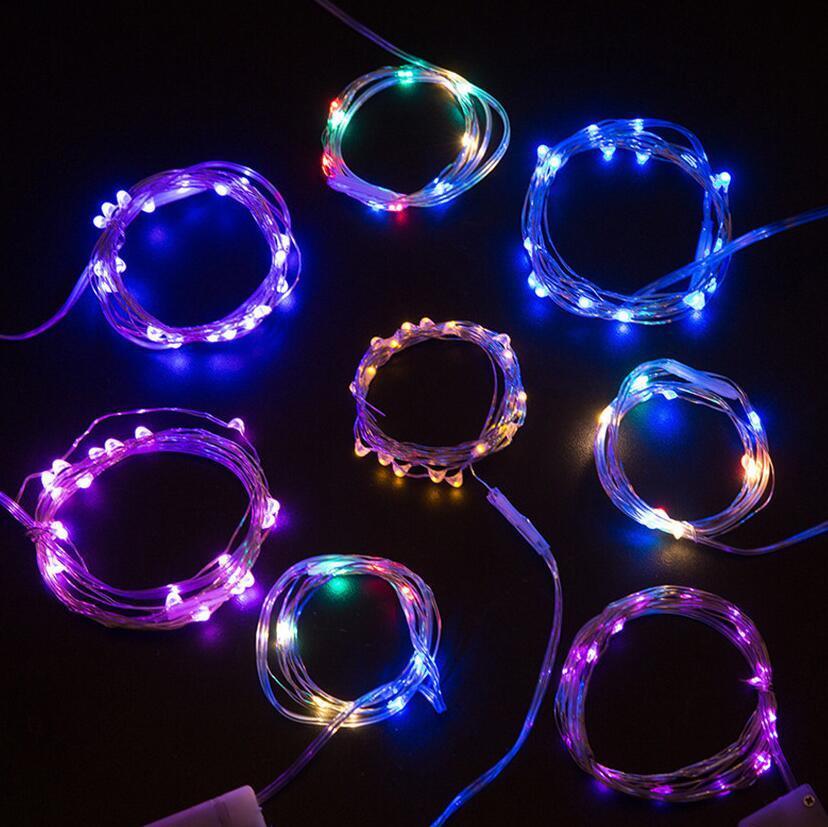 1M LED Cordas Luzes pilhas Halloween Party Xmas Natal Multicolor LED Flash Light Fio de cobre Lâmpada Luz Cordas favores F91003