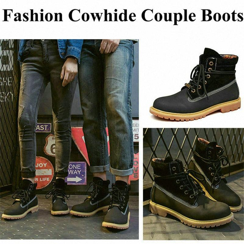 100% cuir véritable femme Bottes Tooling Couples Chaussures Outdoor femmes lacent cheville unisexe Motorcycle BFBS #