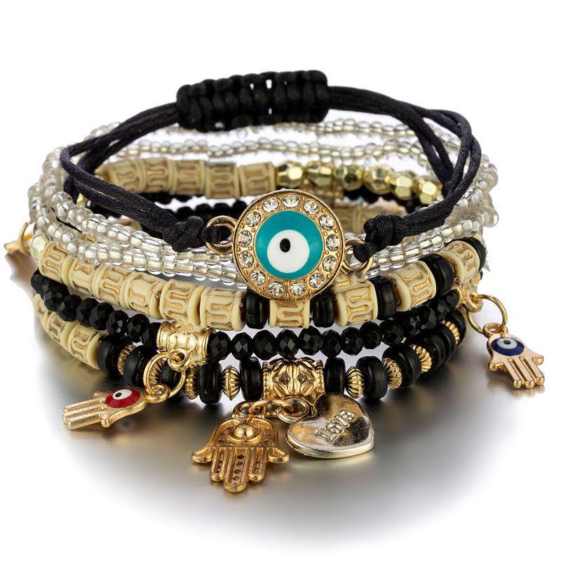 Evil Eye Charms Armbänder Mode Design Fatima Hamsa Hand Armband Armreifen Für Frauen Multilayer Geflochtene Handgemachte Männer Perlen Schmuck Pulseras
