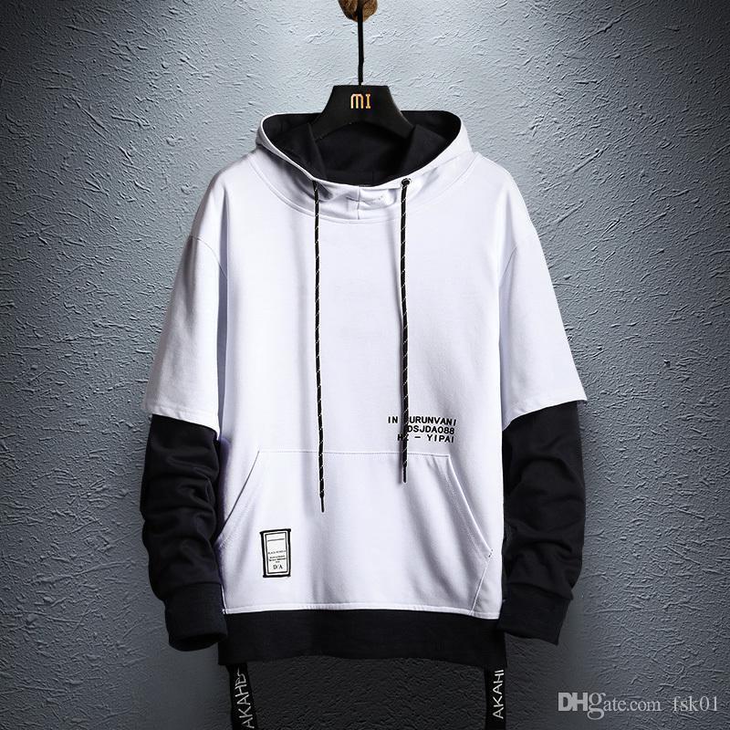Лоскутное фуфайки Hoodie Mens 2020 осень Hip Hop Хлопок Пуловеры Толстовки Япония Стиль Уличная одежда Colorblock балахон