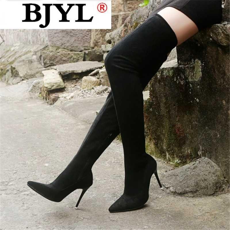2020 de cuero de gamuza invierno de las mujeres de alta del muslo botas de las mujeres los tacones altos de la cremallera de las mujeres sobre los cargadores de la rodilla más el tamaño de los zapatos