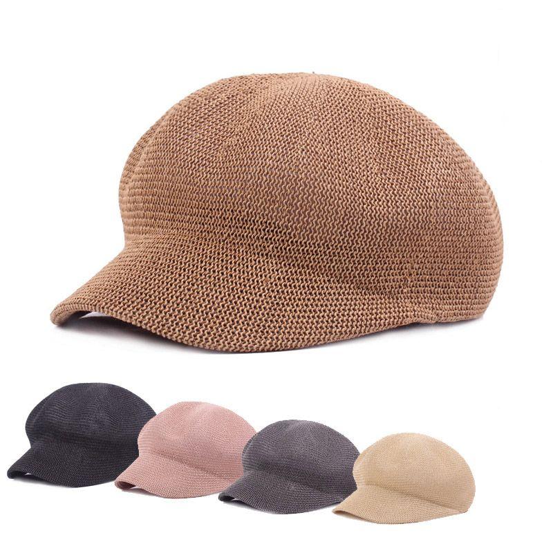 Été Mesh herbe Bérets pour les femmes Octogonale Cap Newsboy Hat Modèle Artiste Seaside Beach Peinture Chapeau de paille Femme Prend BL23