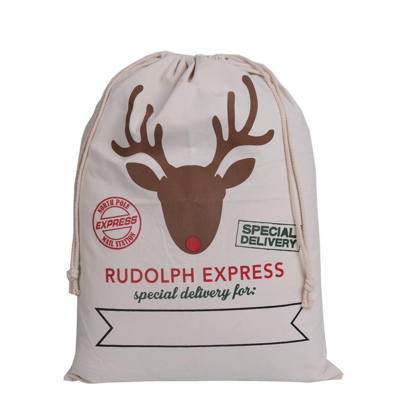 Les sacs de Noël Monogrammable de Noël Sacs cadeaux Toile Sac à cordonnet Père Noël cerf Impression 7 Designs 100 * 72cm