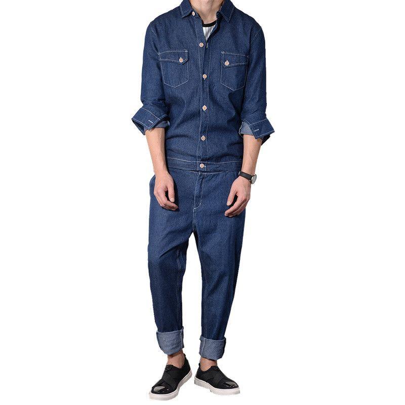 MORUANCLE de Moda de Nova Mens Denim Jardineira Jacket destacável crânio impressos Jeans Macacões Japnaese Estilo Jean geral