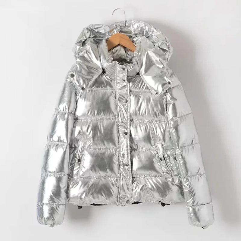 Kalınlaşmak Kapşonlu Kış Ceket Kadınlar Parka Coat Casual gümüş Parka Sıcak Artı boyutu Jaqueta Feminina Büyük Beden Coat Isınma
