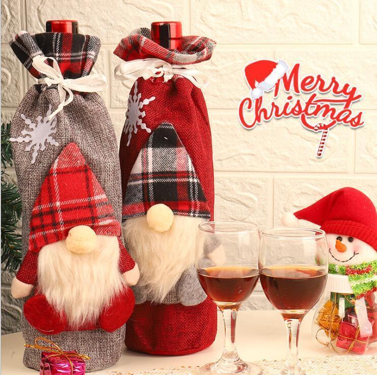 Christmas Wine Bottle Cover Plaid Linen Bottle Clothes Faceless Santa Claus Wine Bag Xams Gift Christmas Gifts Ornament Bag Decorr