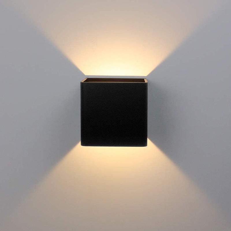 Luce parete interna della lampada da parete 6W Warm Light Up e Piazza Giù moderna Led in alluminio nero di stile per soggiorno Camera da letto Corridoio