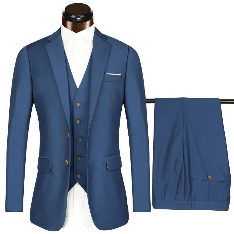 PAULKONTE (Jacket + Vest + Pant) 2020 Traje Los nuevos hombres de la obra clásica del banquete de boda del novio Usiness la alta calidad de regalo Slim Fit Hombres Traje