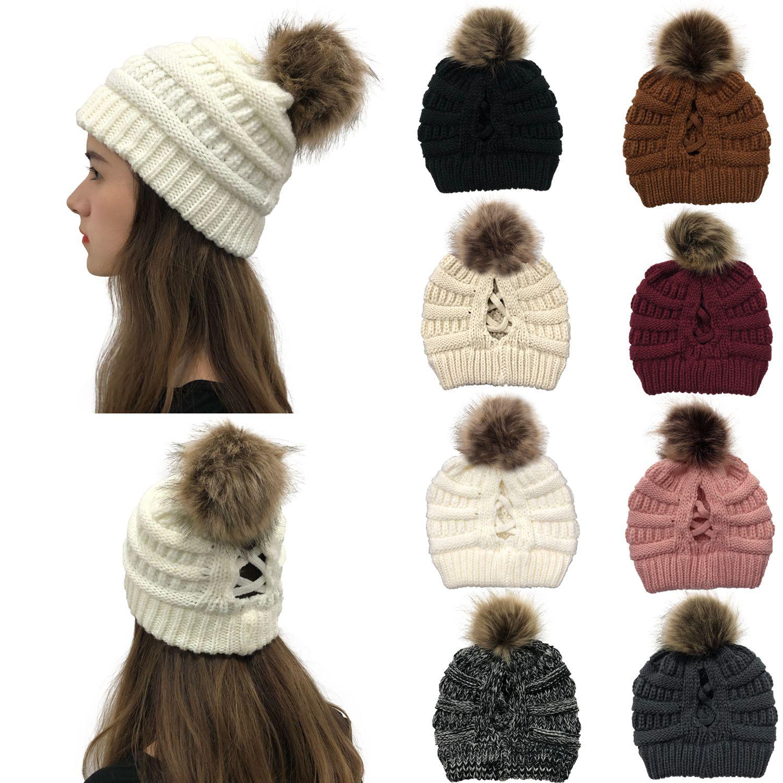 16style 크리스 크로스 폼은 폼은 비니 여성 여자 겨울 니트 모자 야외 포니 테일 비니 분리 응원 모자 니트 크로스 캡 GGA3740
