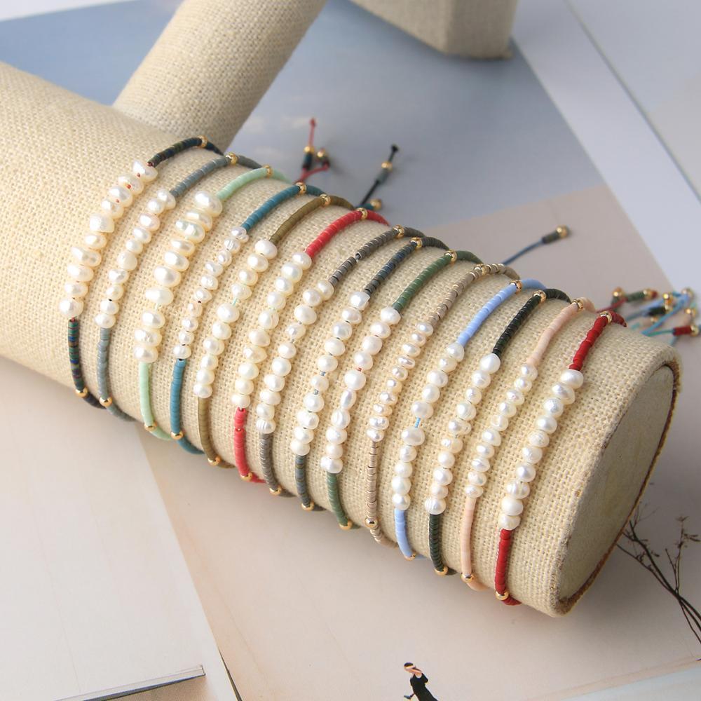 KELITCH Natural Pearl Wrap Bracelets Handmade Charm Shell Seed Beaded Strand Bracelets String Women Friendship Jewelry Y200918