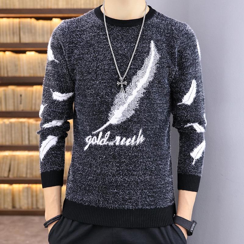 Свитер Мужчины 2020 Зимняя мода Теплый толстый Повседневный пуловер Homme Trending Костюм черный ангел перо Топы Мужской Тонкий Одежда горячий