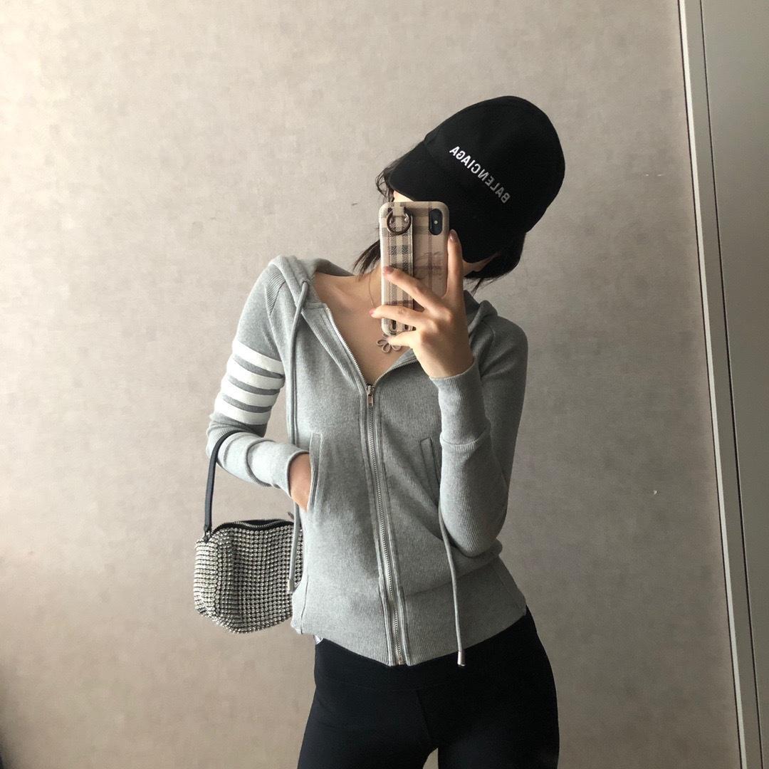 dmziI New F6189 femmes zipper pull gris à capuche manteau à capuche style de mode pull à capuche rayé mince coréenne femmes manteau Matty