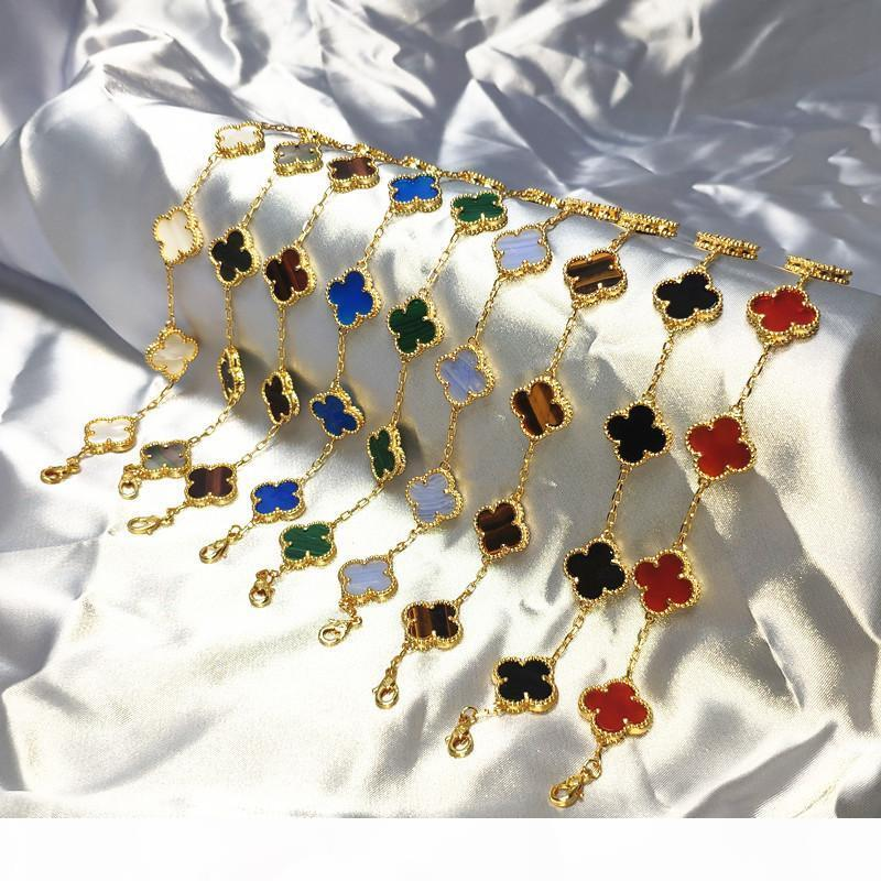 Лаки Цветочный браслет Женский S925 Sterling Silver Rose Gold Chain Four Leaf Clover Агатовые Gemstone Напульсник Ювелирные аксессуары
