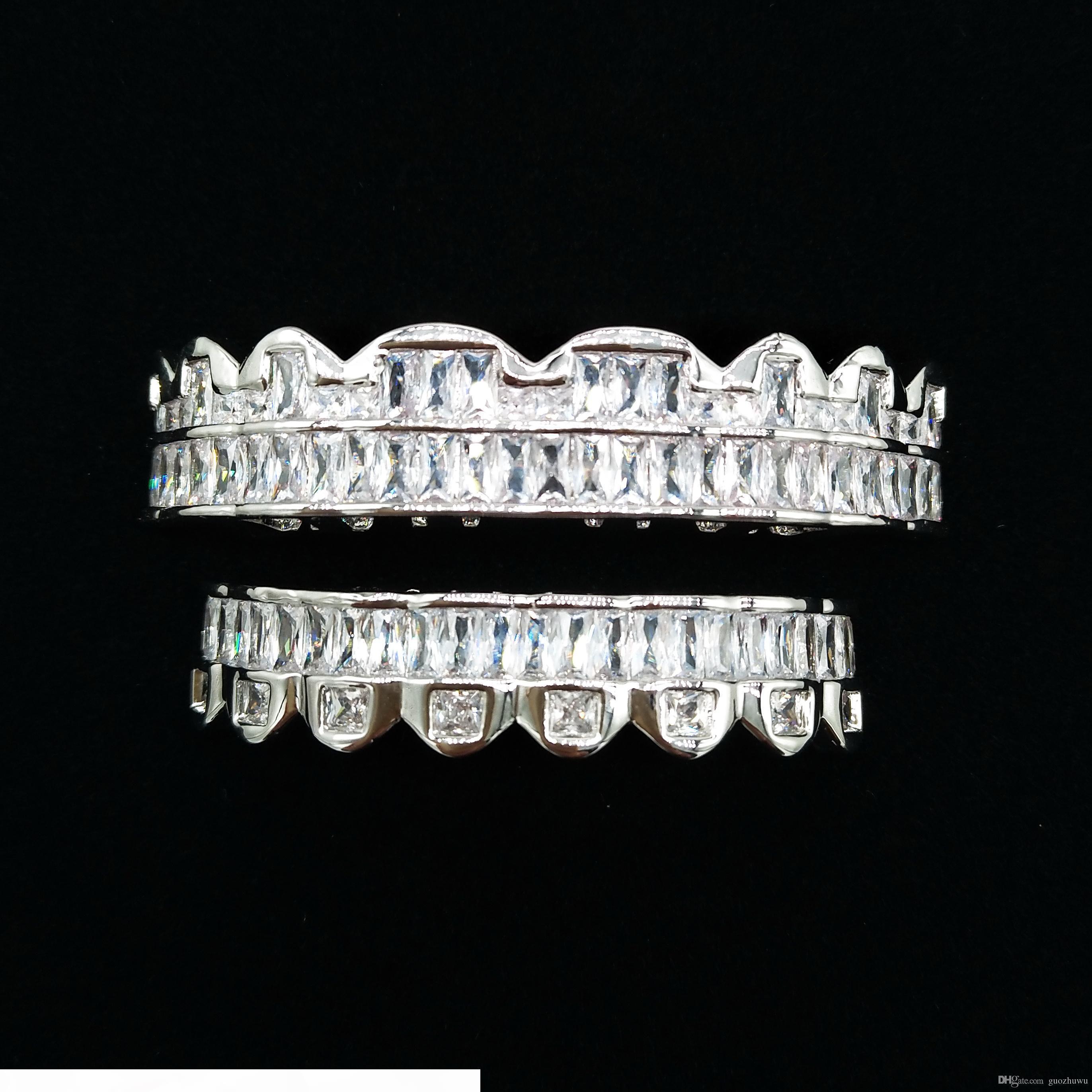 Designer di lusso in oro bianco CZ Denti Cubic Zirconia Griglie di Hip Hop Bling Vampire Fang Grillz ghiacciato fuori il diamante pieno Tooth Cap delle donne degli uomini