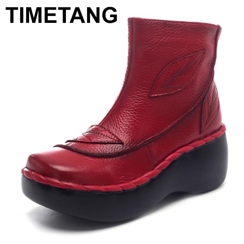 Stivali Timetangwomen's caviglia autunno autunno in vera pelle handmade scarpe da donna scarpe donna zeppe 2021 suola in gomma femminile