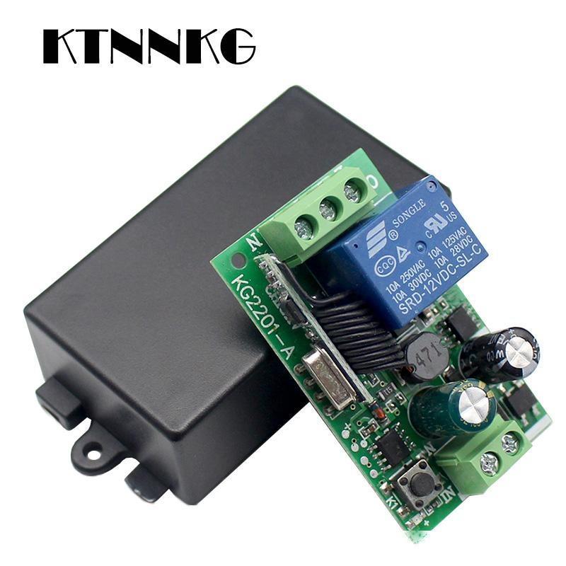 Дешевые Пульты дистанционного управления KTNNKG AC 85 110V 220V 433Mhz Универсальный беспроводной пульт дистанционного управления Переключатель 1CH реле Модуль приемника для РФ 433 МГц