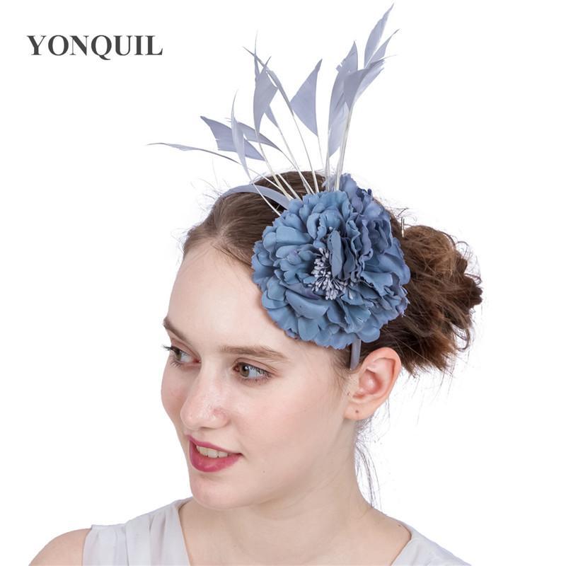 Wiele kolorów Sztuczne kwiaty Jedwabne Kwiat Hairband Opaski na głowice Faszynator Kapelusz Dekoracje Ślubne Kwiatowe Akcesoria do włosów SYF170