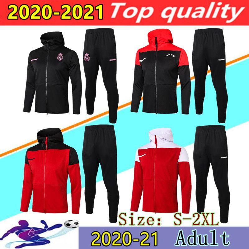 20 21 Real Madrid Hooded soccer jacket training suit Chandal 2020 2021 HAZARD BENZEMA RASHFORD LEWANDOWSKI hoodie Football jackets sweater