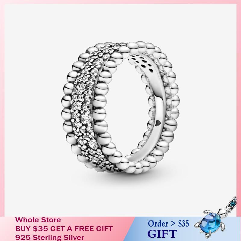 Señora de la manera 100% regalo plata esterlina 925 pavimenta los granos banda anillo de plata esterlina mujeres fiesta de cumpleaños de bricolaje 2020