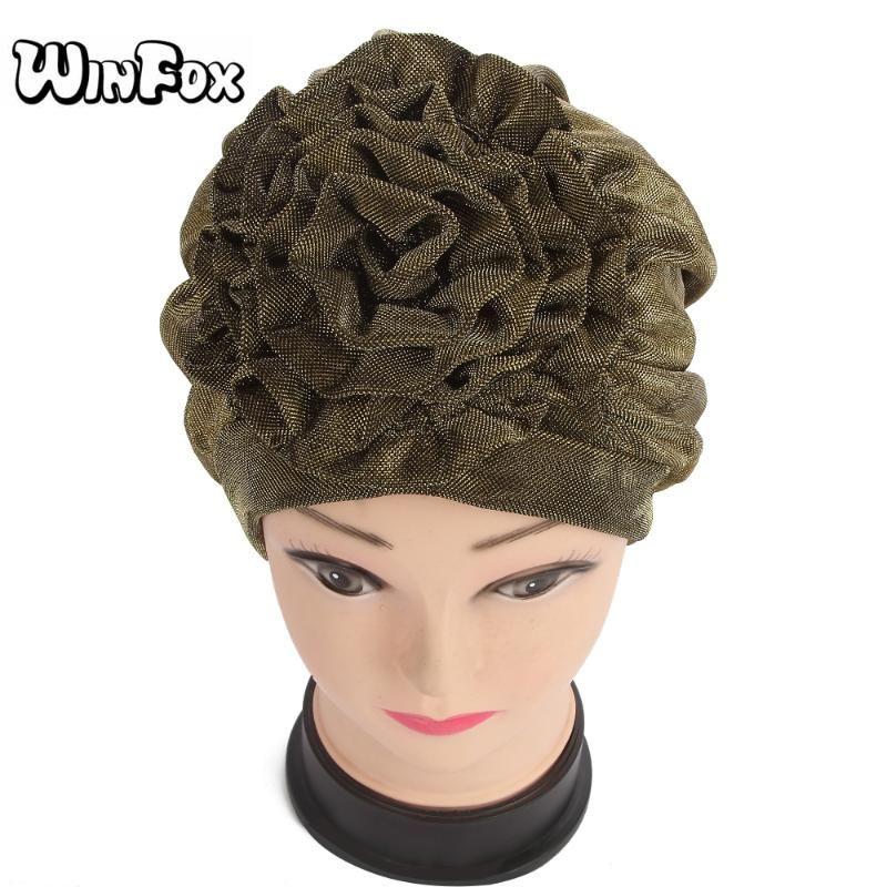 Berretto / cranio Caps Winfox Design Moda Donna Gold Black Glitter Musulmano Floral Floral Chemo Turban Hat per donna Donna