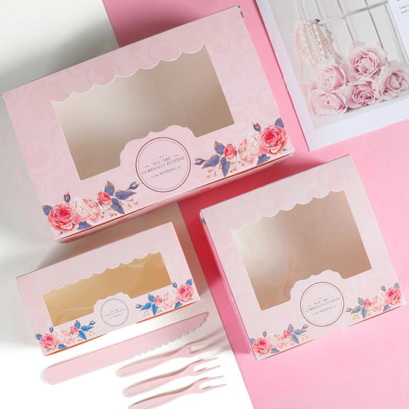 Amais 10PCS Mini Mooncake Paper Gift Box Transparent Window Candy And Sweets Cake Box Wedding Favor Navidad Gift Packaging For H