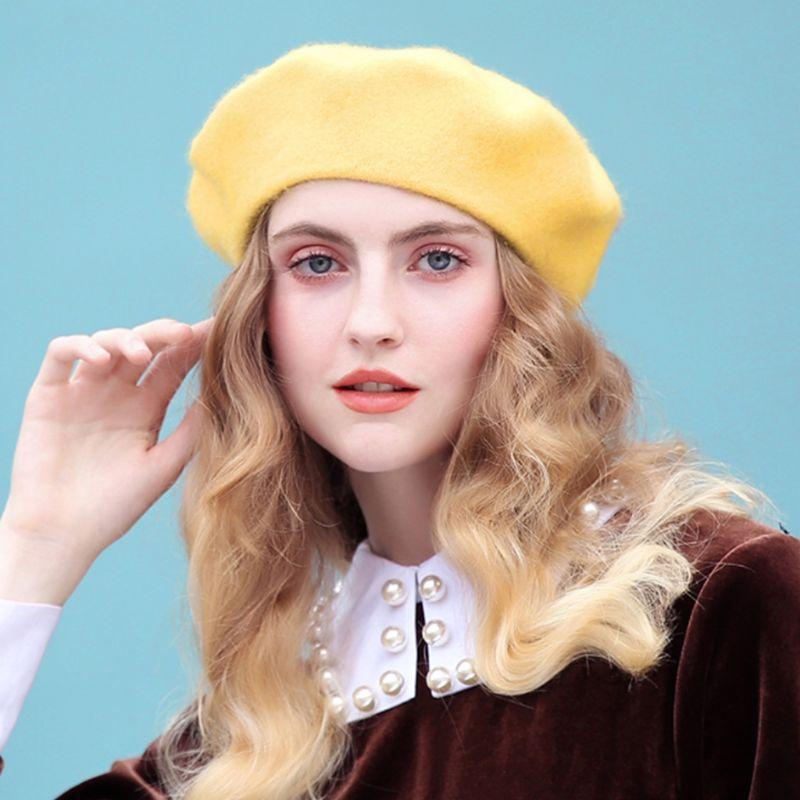 Корейской Женщина Девушка Vintage Берет Cap Solid Color Winter Warm Stretch Painter Hat D08E