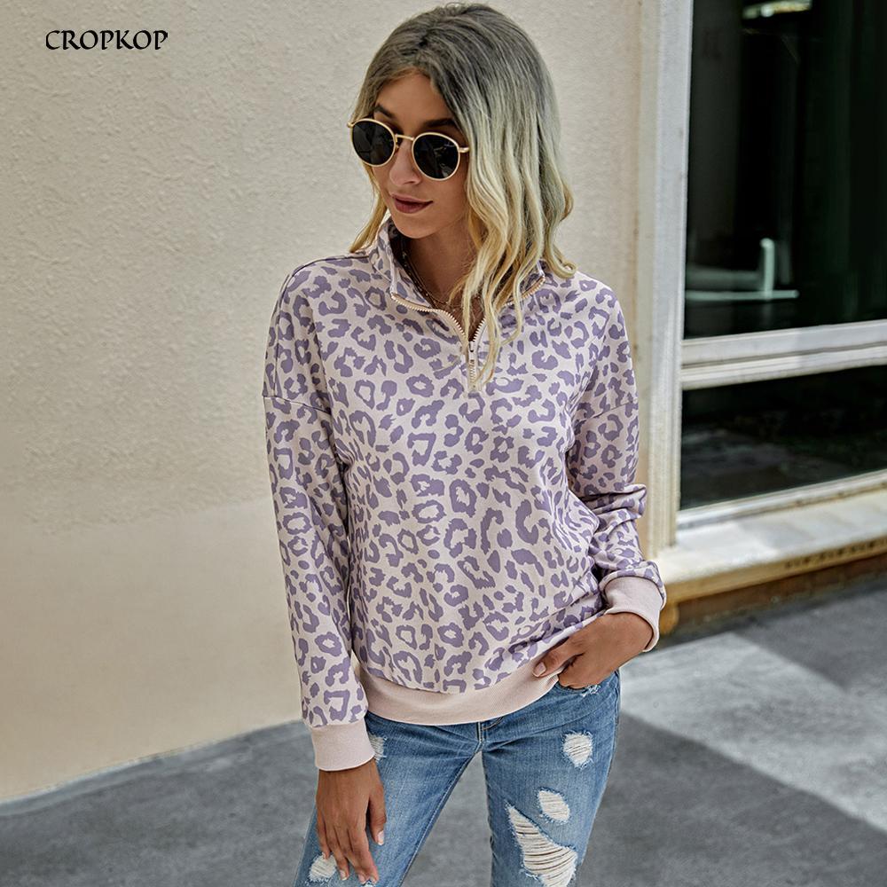 Sweatshirt Women Autumn Winter Vintage Leopard Print Long Sleeve Zip Up Tops Pink Pullover Sweatshirts Fall 2020 Womens Clothing 0915