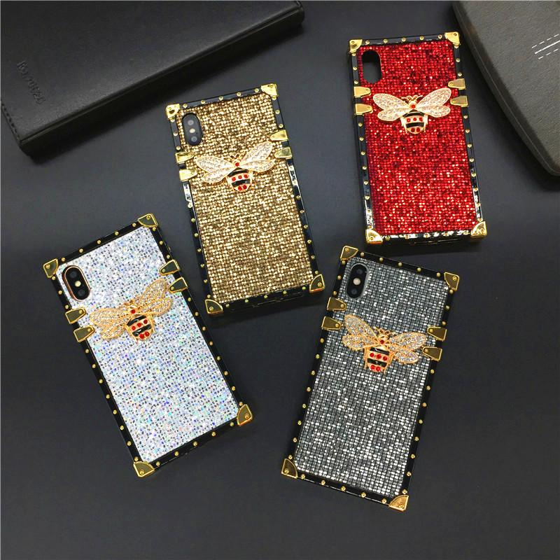 Luxury Glitter Square Phone Cover Bee Case for Samsung Galaxy S20 Ultra S10 Plus S8 S9 Plus Note 20 10 9 8 J4 J6 A10 A20S A50 A71