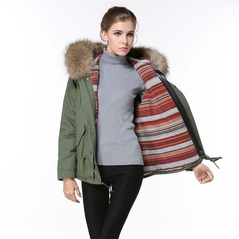 O envio gratuito de estilo Primavera coreana algodão do revestimento da capa de pele de guaxinim casacos mulher com capuz e casacos