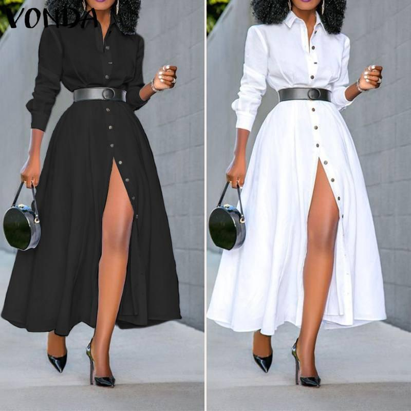 Vestido de camisa de manga larga suelta 2020 Vonda Moda para mujer Vintage Color Sólido Vestidos Ol Office Sexy Split Fiesta Largos Vestidos T200914