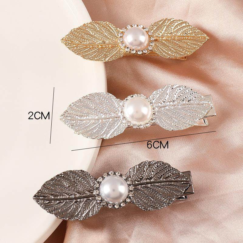 Hair Accessories Simple Diamond Leaf Barrette Pearl Rhinestone Bangs Side Clip Elegant Alloy Leaf Hairpin Headwear Styling Tools