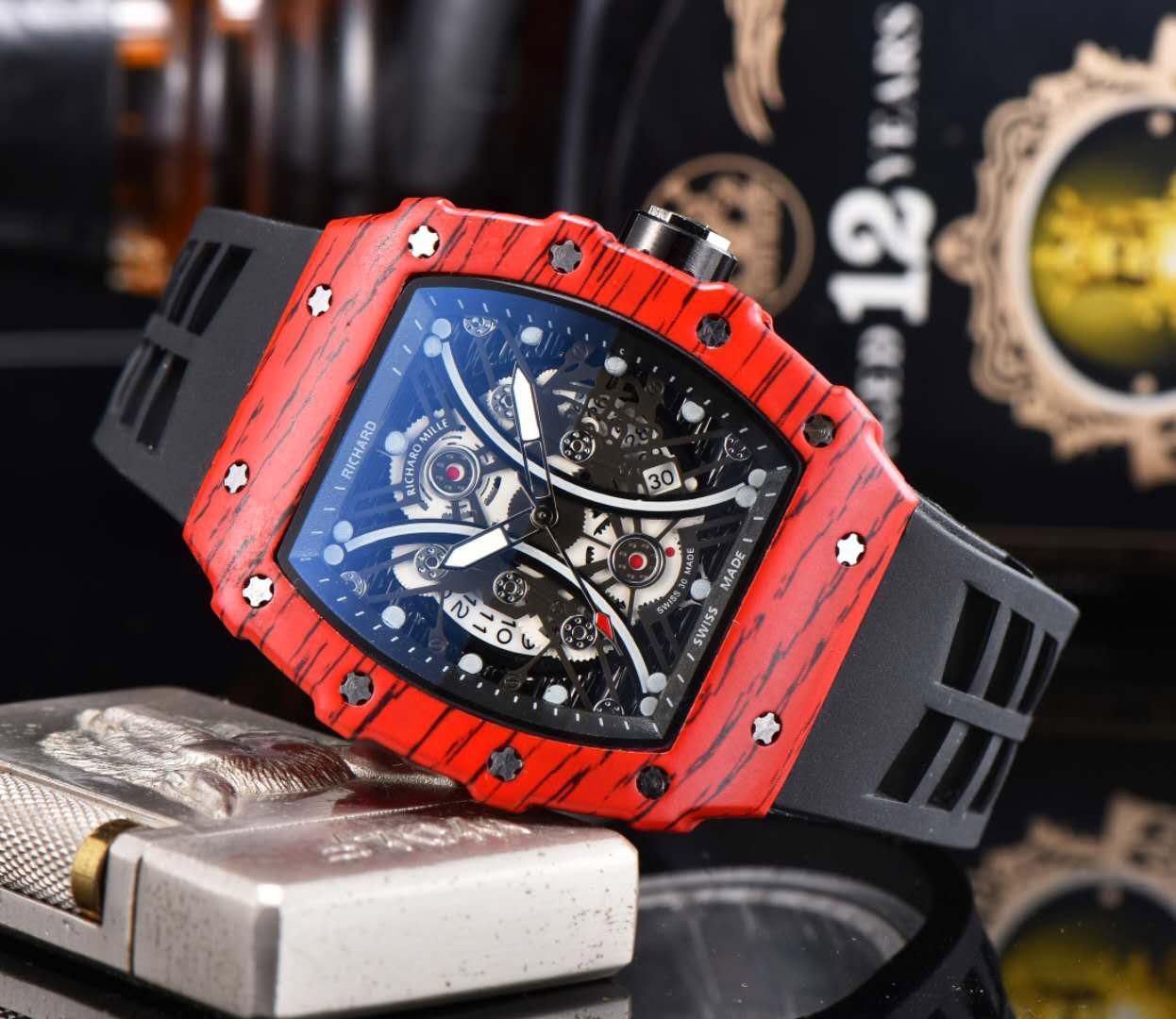 패션 브랜드 손목 시계 남성 토노 스타일의 고무 스트랩 쿼츠 시계 RM08