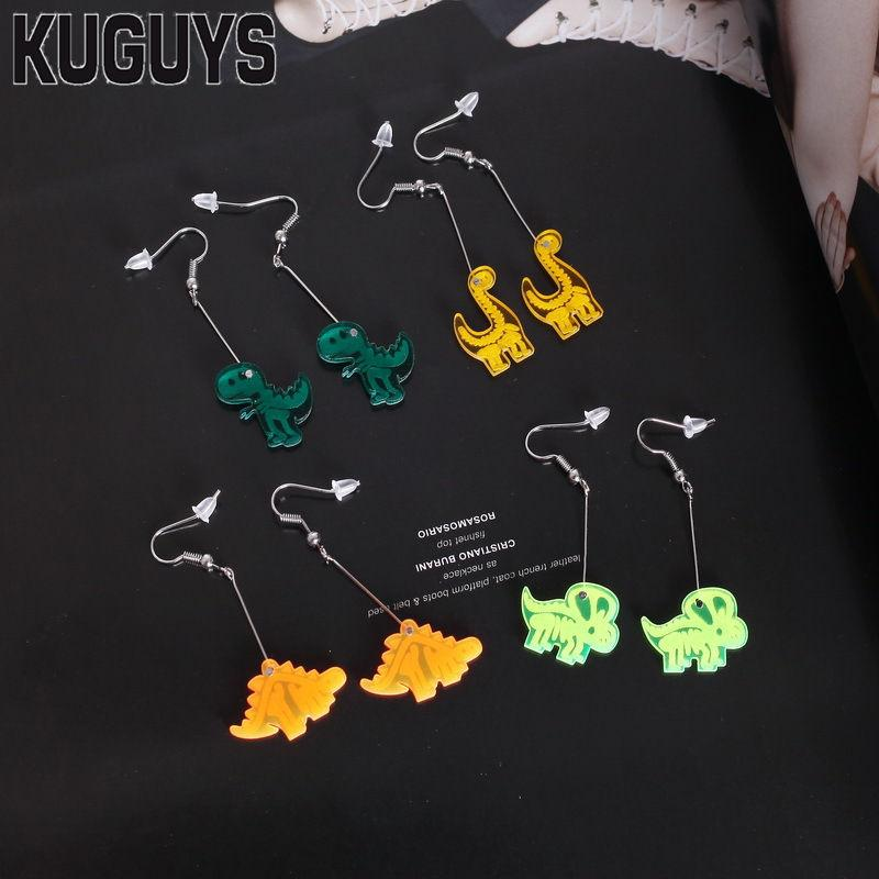 KUGUYS Fashion Acrylic Jewelry Womens Interesting Drop Earrings Lovely Small Dinosaur 4 Style Dangle Earring Girl's Gift