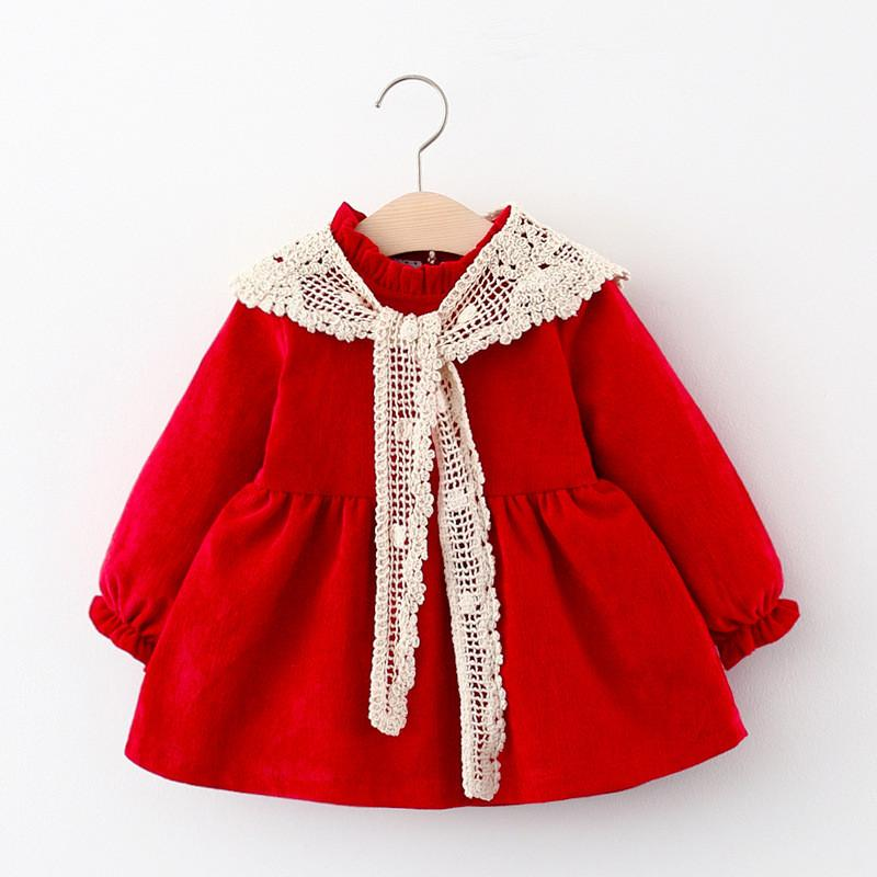 Baby Clothes Girl Dress Winter Newborn Infant Dress Fashion Cute Corduroy Dress+Knit Shawl Princess Party Ropa