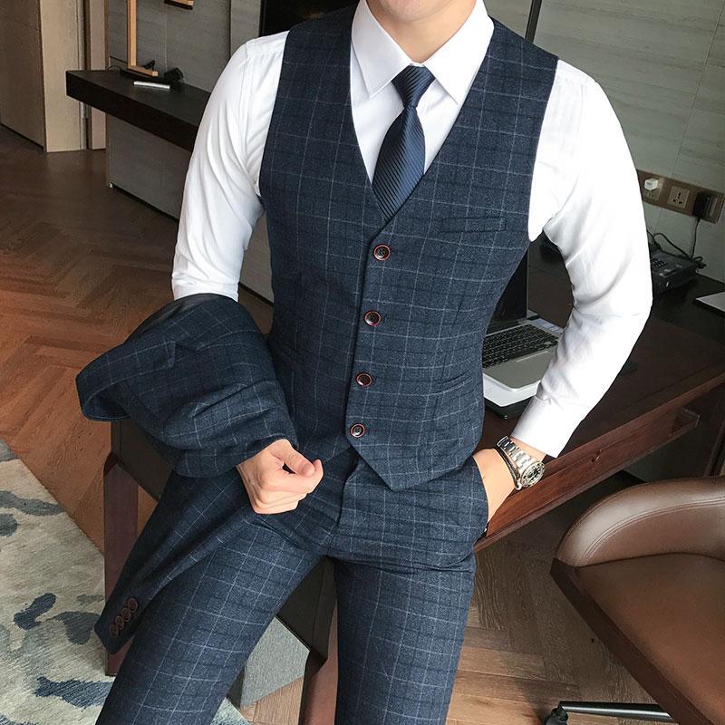 (Calças Vest +) 2piece Mens Fashion Plaid Formal Suit noivo vestido de casamento Vest e calças / Homens da manta de negócios Calças Suit