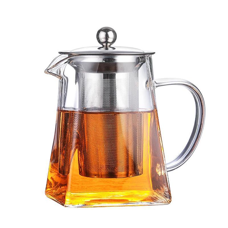 Vidro bule com chá Infuser Filtro resistente ao calor vidro quadrado Bule Kung Fu Tea Set espessamento Café Leite Oolong Flower Tea Pot