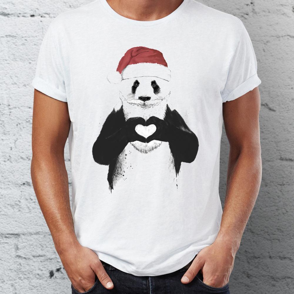 Camiseta masculina Panda de Santa Leão Com Coração impressionante Desenho da mão artística Nature Natal Tee