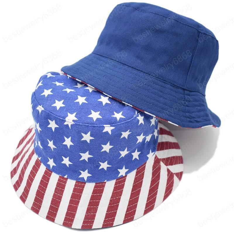 Yeni Unisex Moda Yaz Döner Amerikan Bayrağı ABD Baskılı Kepçe Şapkalar Erkekler Kadınlar Açık Gölge Panama Boys Balıkçı Şapka Bob