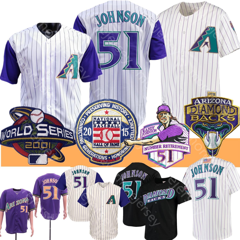 랜디 존슨 뉴저지 2001 WS 패치 2015 야구 명예의 전당의 흰색 핀 스트라이프 블랙 퍼플 홈 항상 곁에 모든 스티치 남성 크기 M-3XL