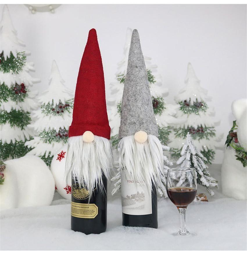 DHL 선박 새로운 크리스마스 선물 가방 장식 산타 클로스 가방 와인 유리 병 세트 크리스마스 샴페인 장식 와인 가방 FY7175
