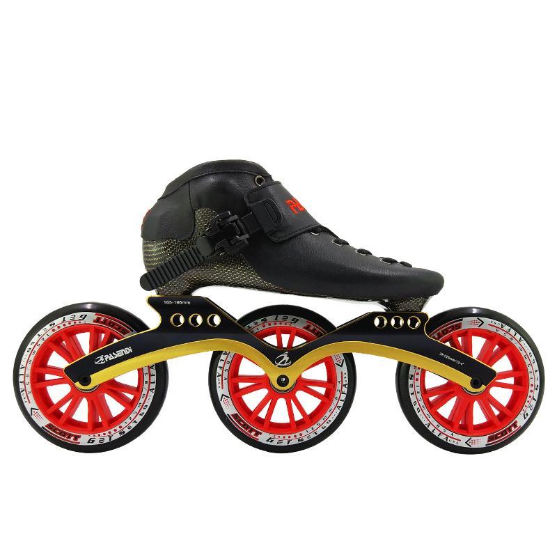 Calefacción moldeado de fibra de carbono velocidad patines para hombres y mujeres que compite con los zapatos para adultos recta Patines Ruedas 3X125mm