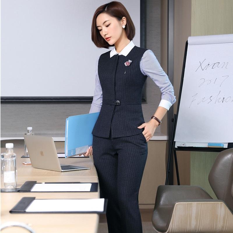 여성 비즈니스 정장 사무실 숙녀 작업복 유니폼 재킷을 위해 패션 스트라이프 조끼 조끼 코트 정장 바지 정장