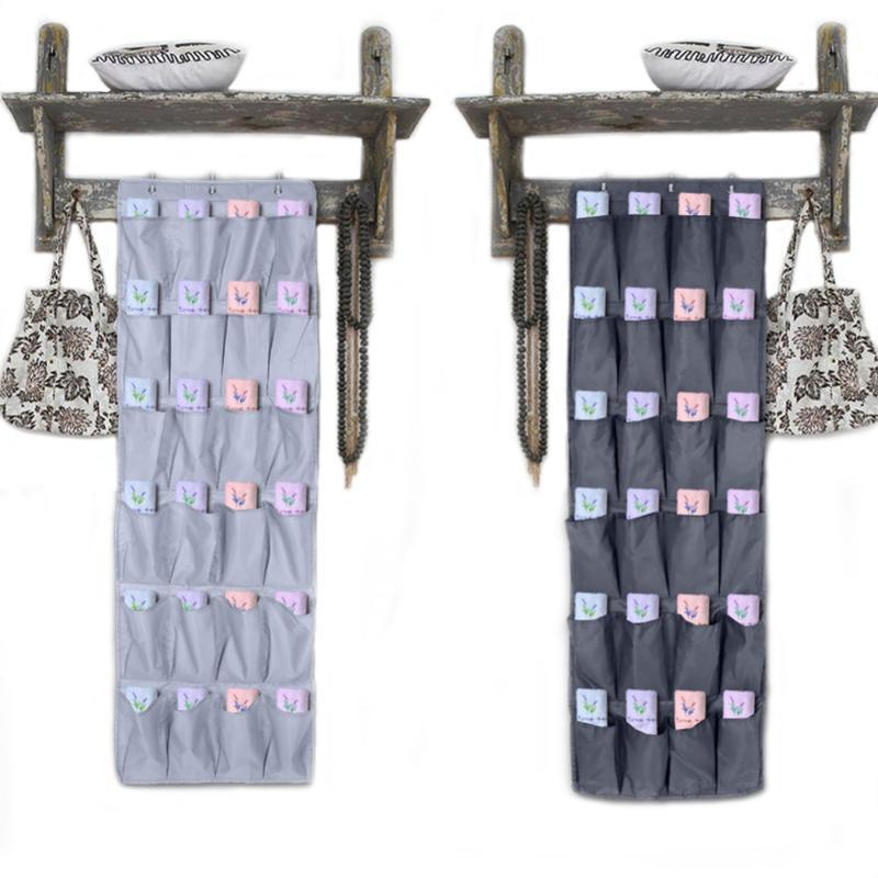 Home sale 24Pockets Oxford Fabric Over The Door Wall Hanging Shoe Storage Bag Organizer Space Saving Rack