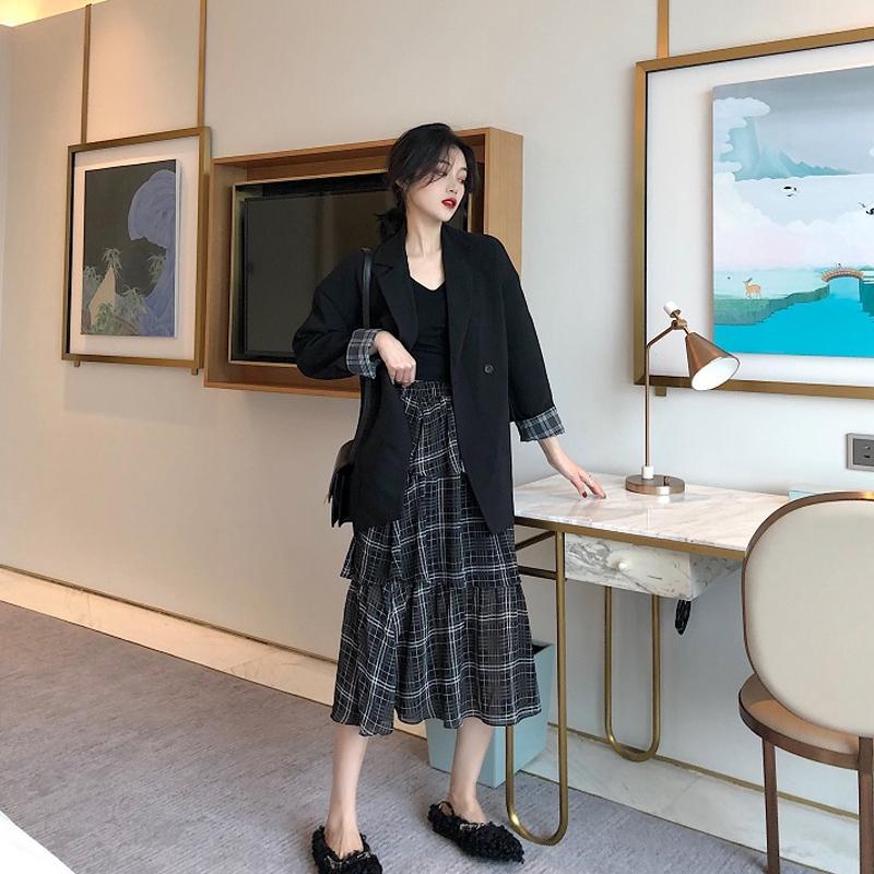 Женские костюмы Blazers Office дамы зимняя шерсть повседневная тонкая элегантный костюм пальто твид женщины женщина 2021 тонкий длинный пиджак для S0209