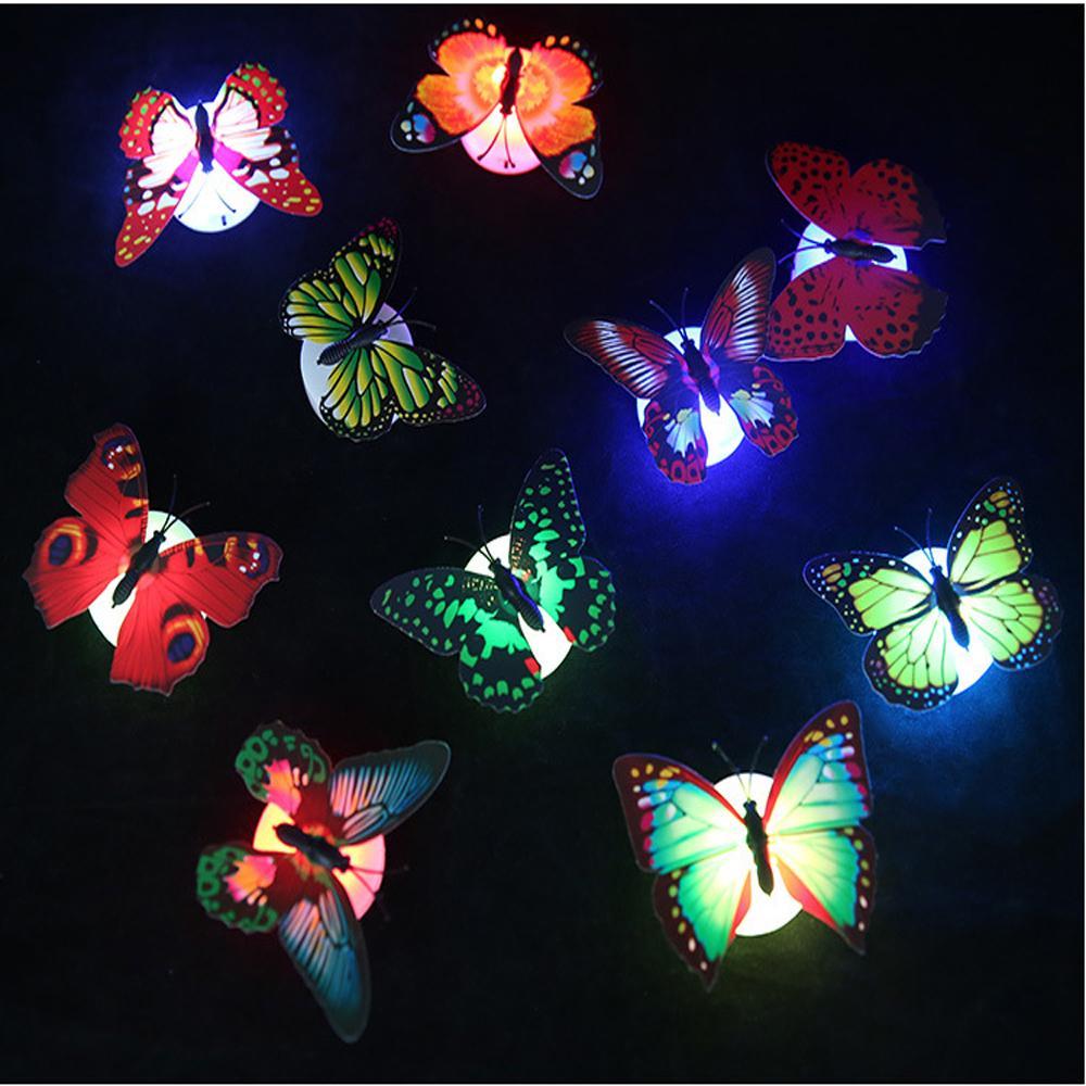 20PCS 새로운 컬러 빛 나비 벽 스티커 쉬운 설치 야간 조명 홈 생활 아이 방 Fridage 침실 장식 무료 배송