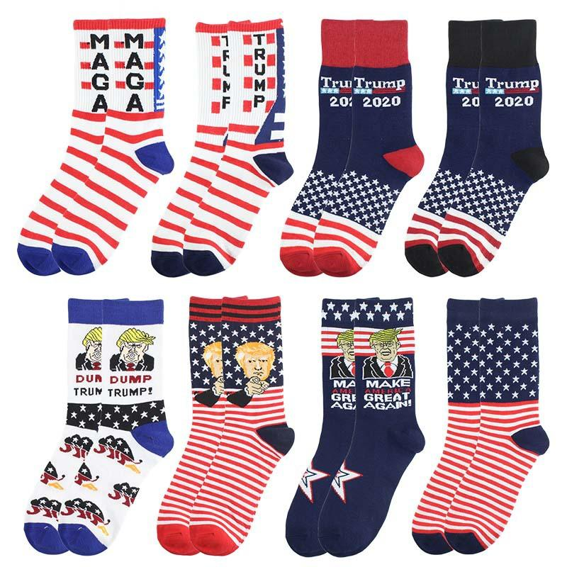 Дональд Трамп Носки Президентская кампания 2020 Сделать американский большой Хлопок Maga Письмо США Флаг Носки Мужчины Женщины Чулки HHA341