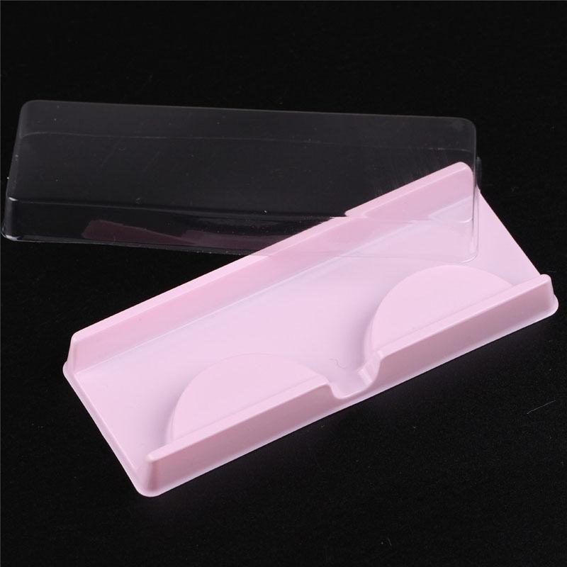 Makyaj Araçları için Temizle Kapak Boş Yanlış Kirpik Tepsili Pembe Plastik Kirpikleri Paketi Kutuları