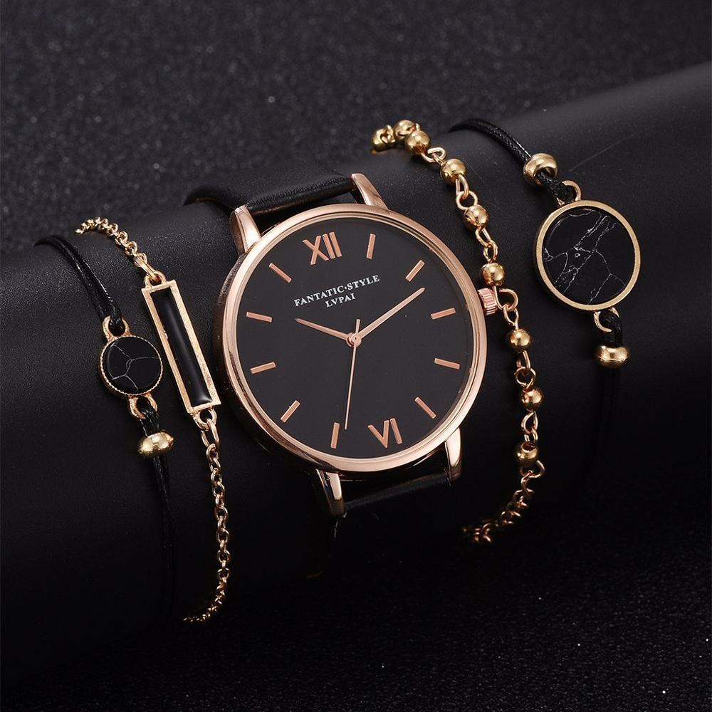 5шт Set Top Стиль Женская мода Luxury Leather Аналоговые кварцевые наручные часы женские часы Женщины платье Релох Mujer Black Clock