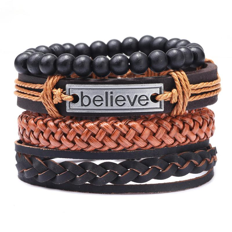 2020 New Vintage 4pcs/set Men Leather Bracelet Believe Beads Woven Wristband Bangles Fashion Jewelry Friend Gift