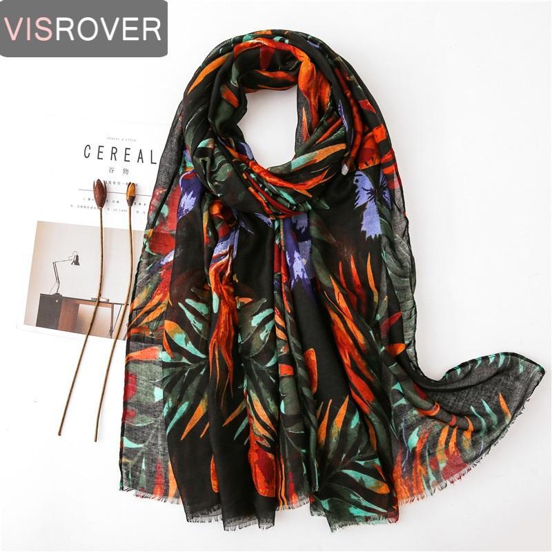 Visrover 비치 스카프 목도리 식물 잎 인쇄 스카프 비스코스 꽃 히잡 여성 스카프 머리 패션 여름 도매
